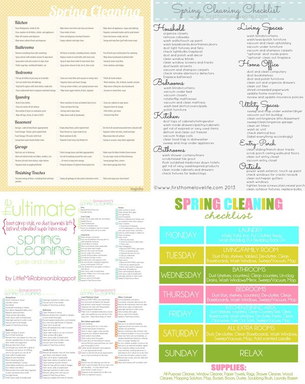There are some very cute free printable spring cleaning checklists on this site:)