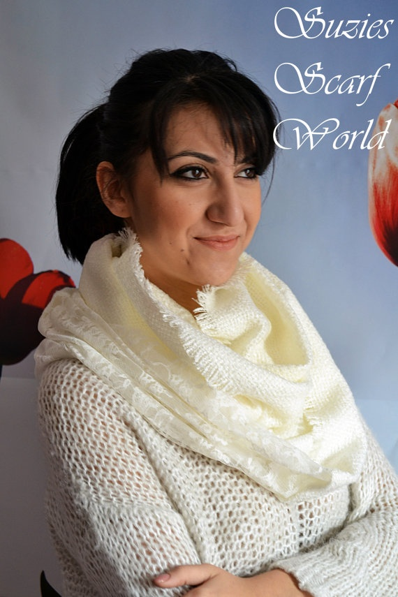 White Long Scarf Lace And Knitted Scarf Double by SuziesScarfWorld, €21.00