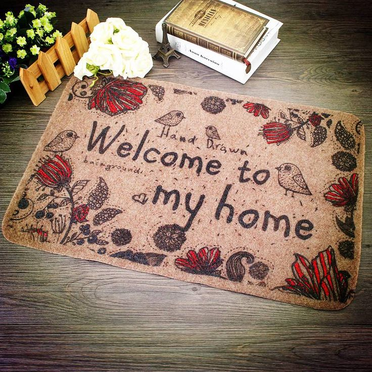 """Door mat is hand-drawn. It has an inscription """"Welcome to my home"""". It will be perfect addition the interior of your home. Price $12.48 #Stylish #Beautiful"""