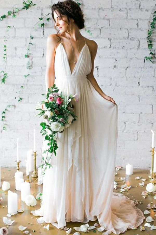Hot Sale Absorbing V-Neck Wedding Dresses, Ivory Wedding Dresses, Wedding Dresses Simple