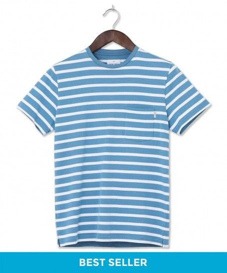 Press Two Colour Block Stripe Cotton T-Shirt Sky Blue & Whit