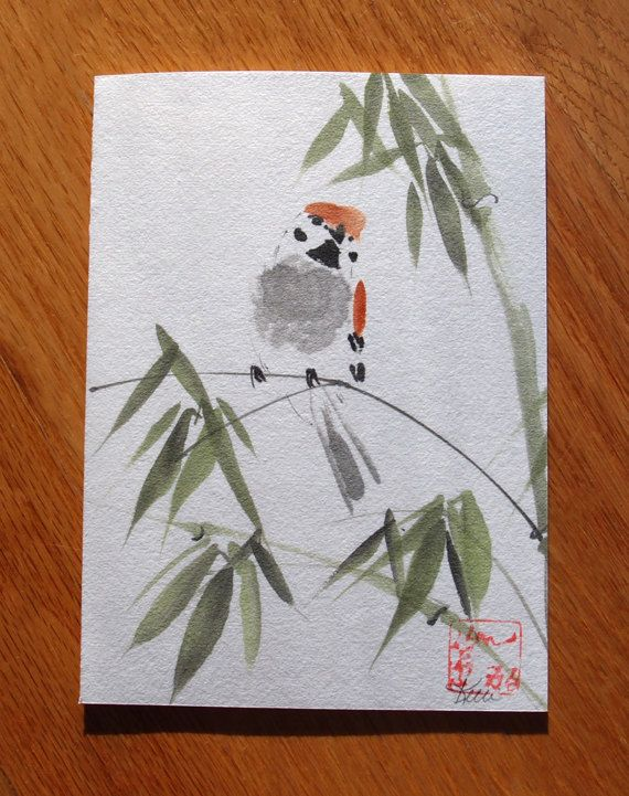 Sparrow and Bamboo Original Chinese Brush by KelliMcNicholsArt