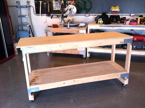diy homemade wooden work bench on wheels