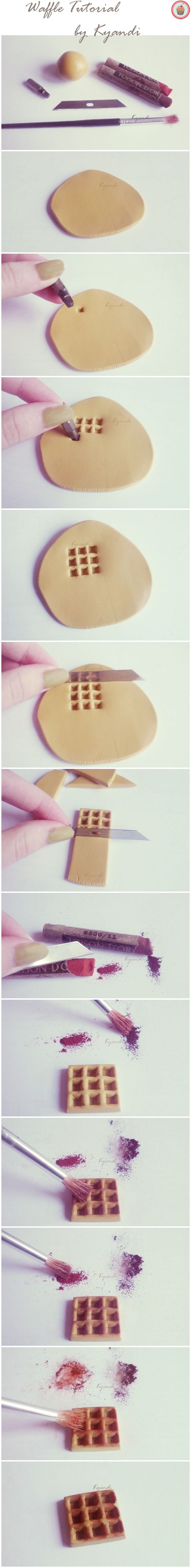 Original Pin-er Wrote: Polymer clay waffle tutorial by ~Kyandi-charms on deviantART. I wrote: So trying this!