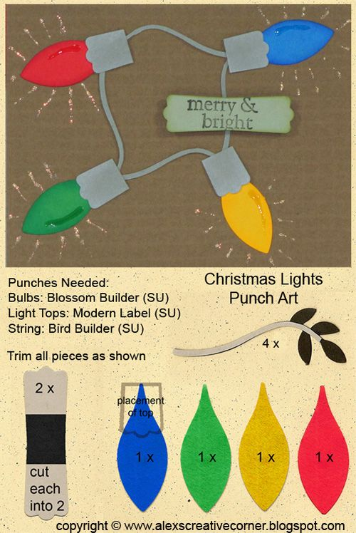 Another simple punch art project; Christmas lights.      I kept this card very simple. It honestly looks better in person as the glitter and...