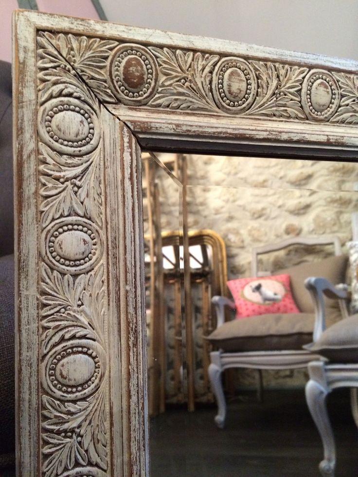 Ancien miroir en bois sculpté patiné : Décorations murales par l-ame-de-bois