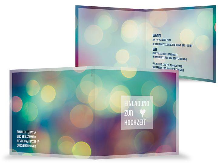 Einladungskarte Hochzeit Bokeh Effekt