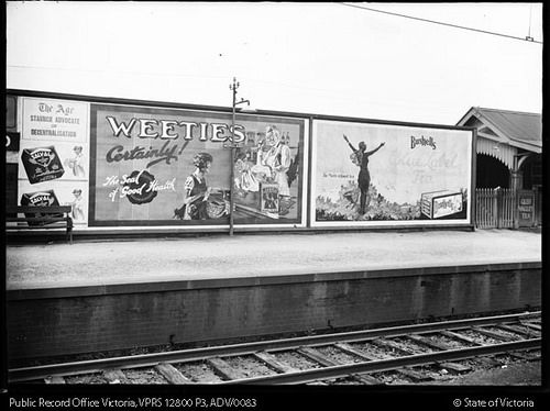 Moreland Station Melbourne Victoria :    Hoardings, Weeties And Bushell  Blue Label Tea Advertisements circa 1930s