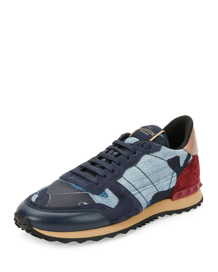 Rockrunner Denim Camo-Print Trainer Sneaker, Denim