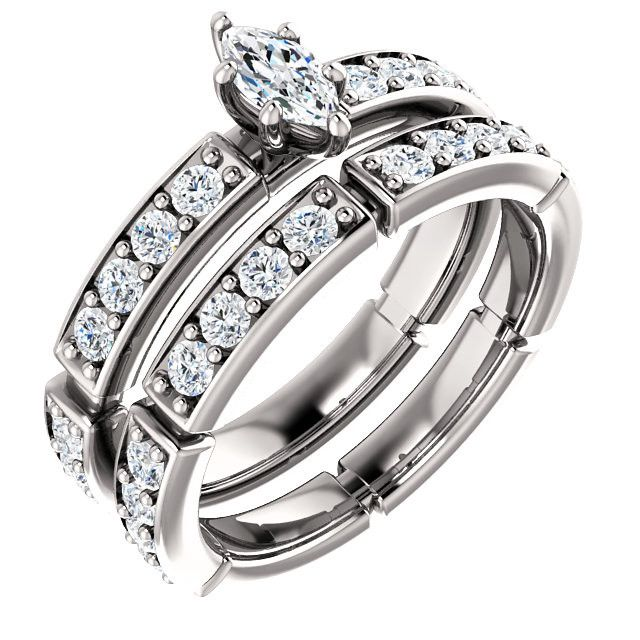 0.25 Ct Marquise Accented Diamond Engagement Ring 14k White Gold – Goldia.com