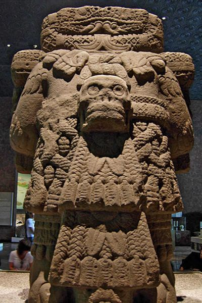 "Coatlicue, also known as Teteoinan (also transcribed Teteo Inan), ""The Mother of Gods"" (Classical Nahuatl: Cōhuātlīcue [koːwaːˈtɬiːkʷe], Tēteô īnnān), is the Aztec goddess who gave birth to the moon, stars, and Huitzilopochtli, the god of the sun and war.  She is also known as Toci (Tocî, ""our grandmother"") and Cihuacoatl (Cihuācōhuātl, ""the lady of the serpent""), the patron of women who die in childbirth."