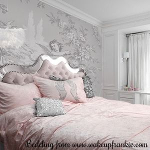 Mirrored headboard by St. Thomas & Co.  Bedding from Wake up Frankie!