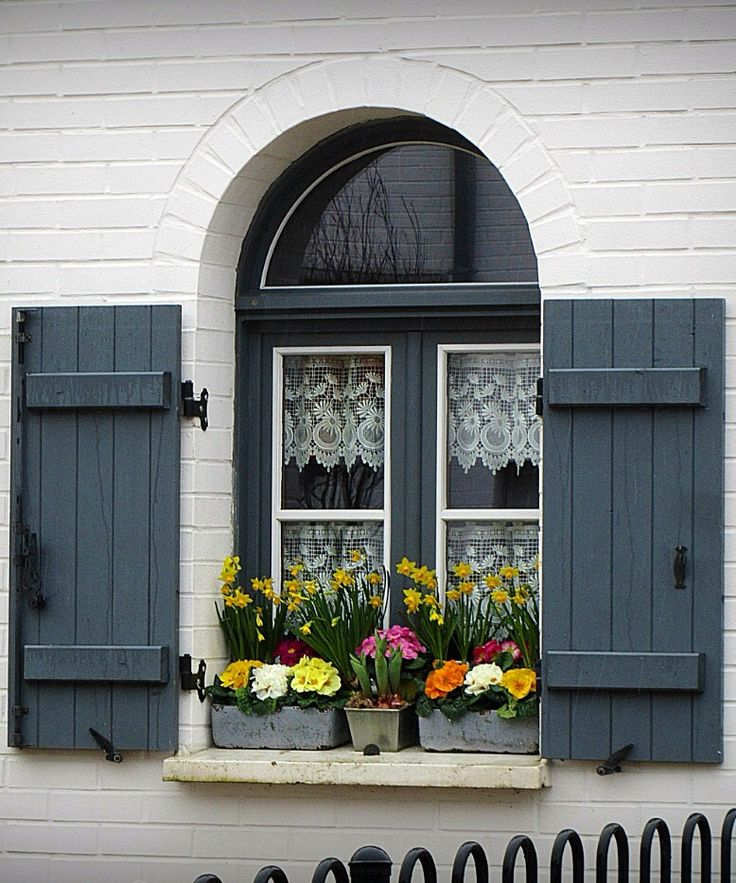 Valenciennes, Nord, France……..QUITE LIKE HOLLAND WITH THE LACE CURTAINS AND COLORFUL FLOWER POTS ON THE SILL…………..ccp