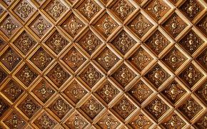 Обои потолок, узоры, буквы, ромбы, текстура