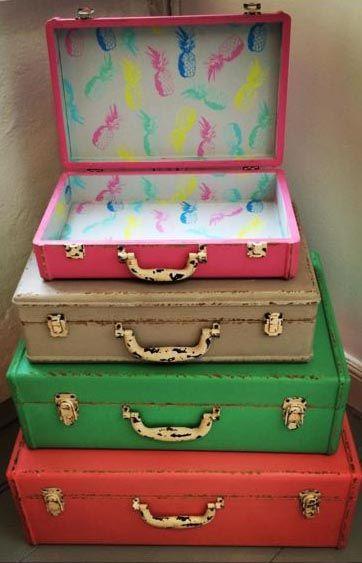 Beau Medium Tropical Decorative Storage Suitcase