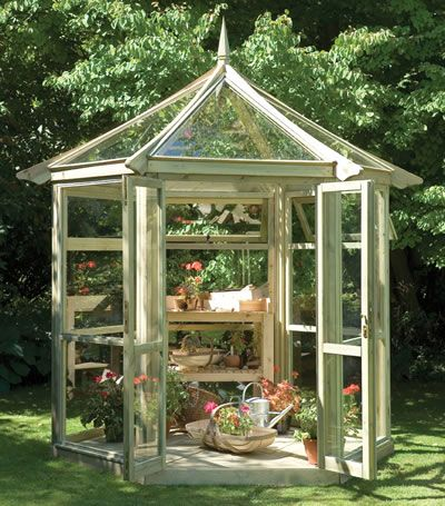 Glass house for gardening, although it is so pretty that I wouldn't want to mess it up...