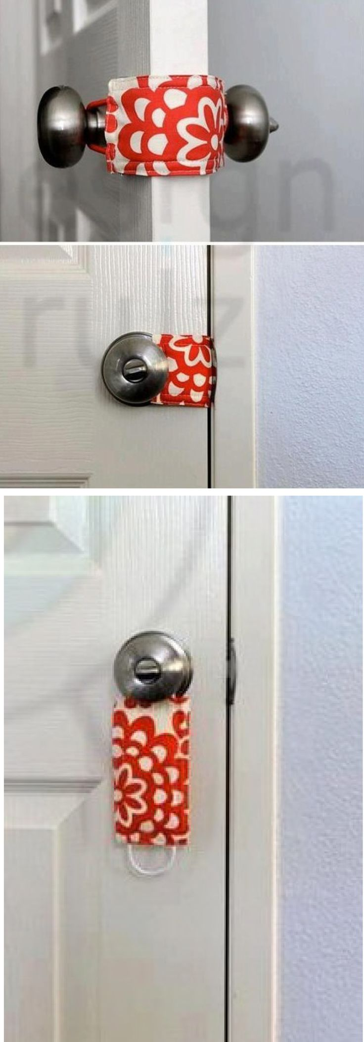 "Latch Stopper ... to keep the door quiet for nap times, to keep little ones from getting ""stuck"" in rooms ... etc., etc., etc.  No link to instructions.  I am assuming simply sew two pieces of fabric together with a pony tail holder (elastic band) sewn into each end."