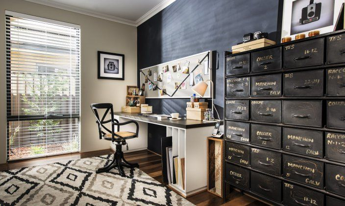 Check out the 24 chest of drawers we purchased from Boyd Blue - you can see how beautifully it works in this home office!
