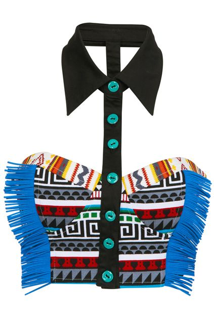 Blue Tassels Embellished Ethnic Print Bandeau