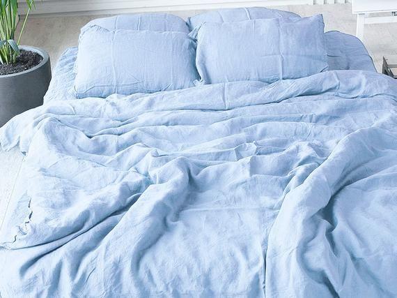 Linen Duvet Cover Blue Linen Bedding Handmade Duvet Cover Shabby Chic Custom Size Bedding All Sizes Linen Duvet Covers Blue Bedding Cool Bedroom Accessories