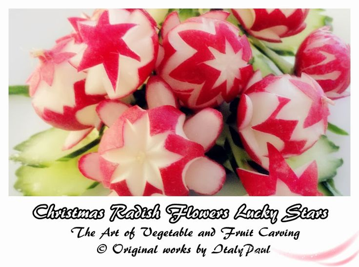 ItalyPaul - Art In Fruit & Vegetable Carving Lessons: Christmas Radish Flowers Lucky Stars | Cucumber Leaf - Art In Radish Show