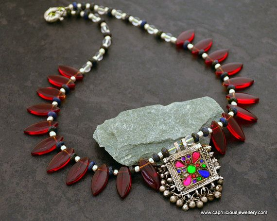 Tribal necklace statement necklace colourful jewellery