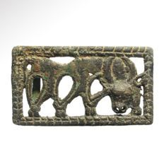 Ordos Bronze Plaque with Grazing Stag, 6.6 cm L