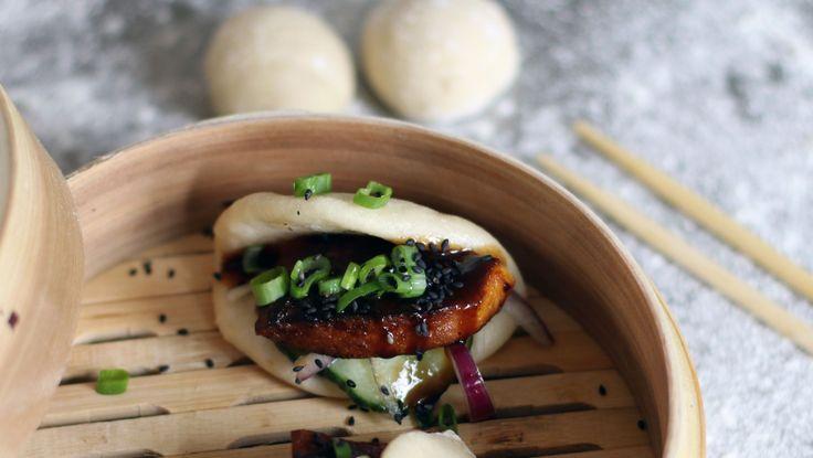 Dampede boller med grillet tofu