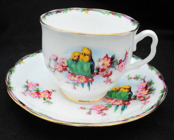 Royal Albert Crown china Lovejoy parrot pink by simplytclubhouse