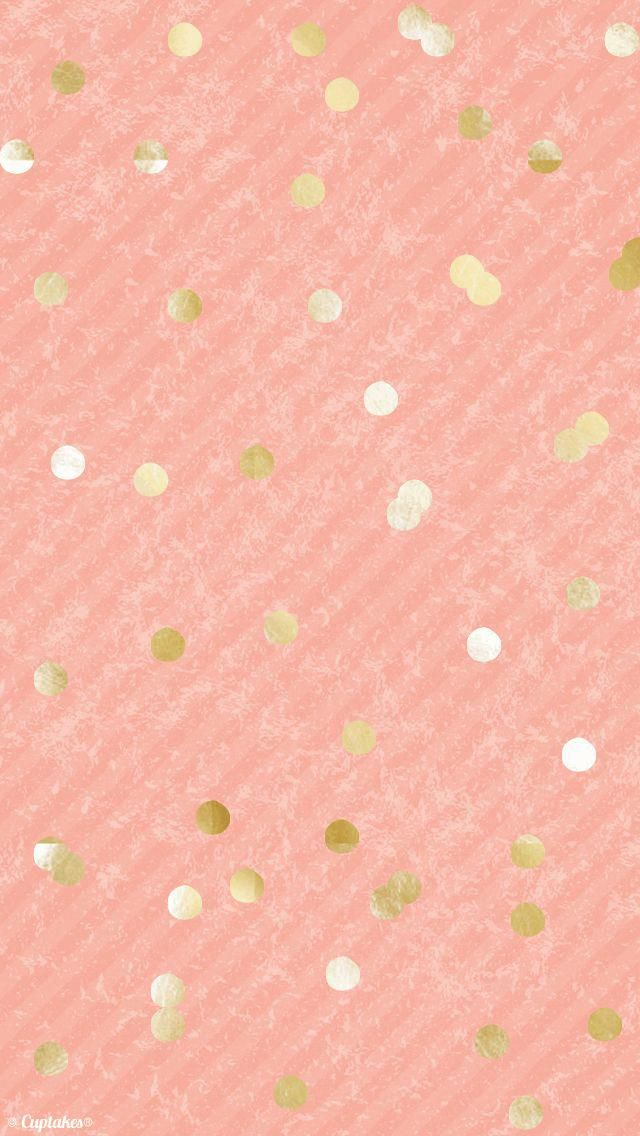 Coral Peach Gold Confetti Dots Iphone Background Wallpaper Phone Lock Screen Iphonew Iphone Background Wallpaper Pink And Gold Wallpaper Pink Wallpaper Iphone