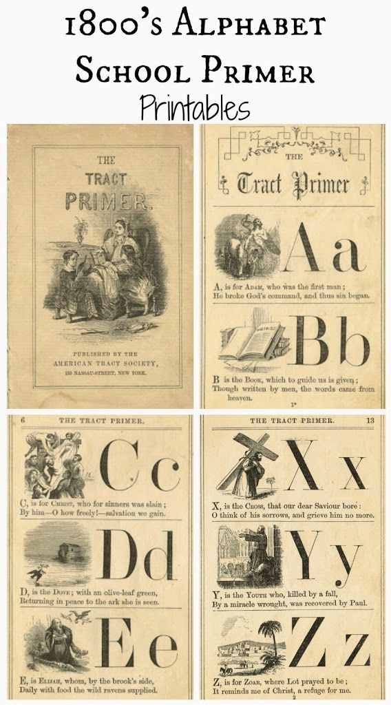 "Today, I have some beautiful alphabet images from an 1800's schoolbook, called, the ""Tract Primer"". Antique flashcards are so popular right now, so these pages could be printed, cut apart, and framed as a flashcard.  They would also be lovely as framed art in child's room. The inside cover page has such a sweet image ..."