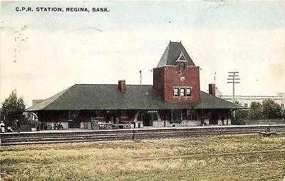 Regina Saskatchewan Canada 1908 Canadian Pacific Railway Depot Vintage Postcard