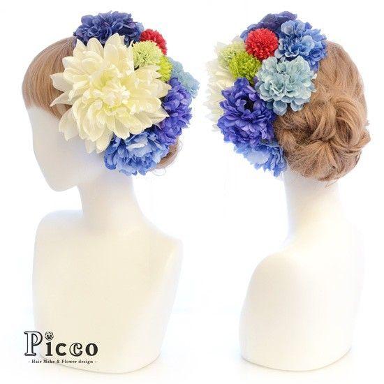 Gallery 153  Order Made Works Original Hair Accesory for SEIJIN-SHIKI #byPicco #白と青 、#パキッ とした#コントラスト が#大人可愛い#髪飾り  #トリプル#マム の#アクセント が#個性的#❤️ #オリジナル#オーダーメイド#振袖#成人式#2016  ##花飾り#着物#成人#造花#ヘアセット#アップスタイル#ドレス にも #hairdo#flower#hairaccessory#kimono#japanese#