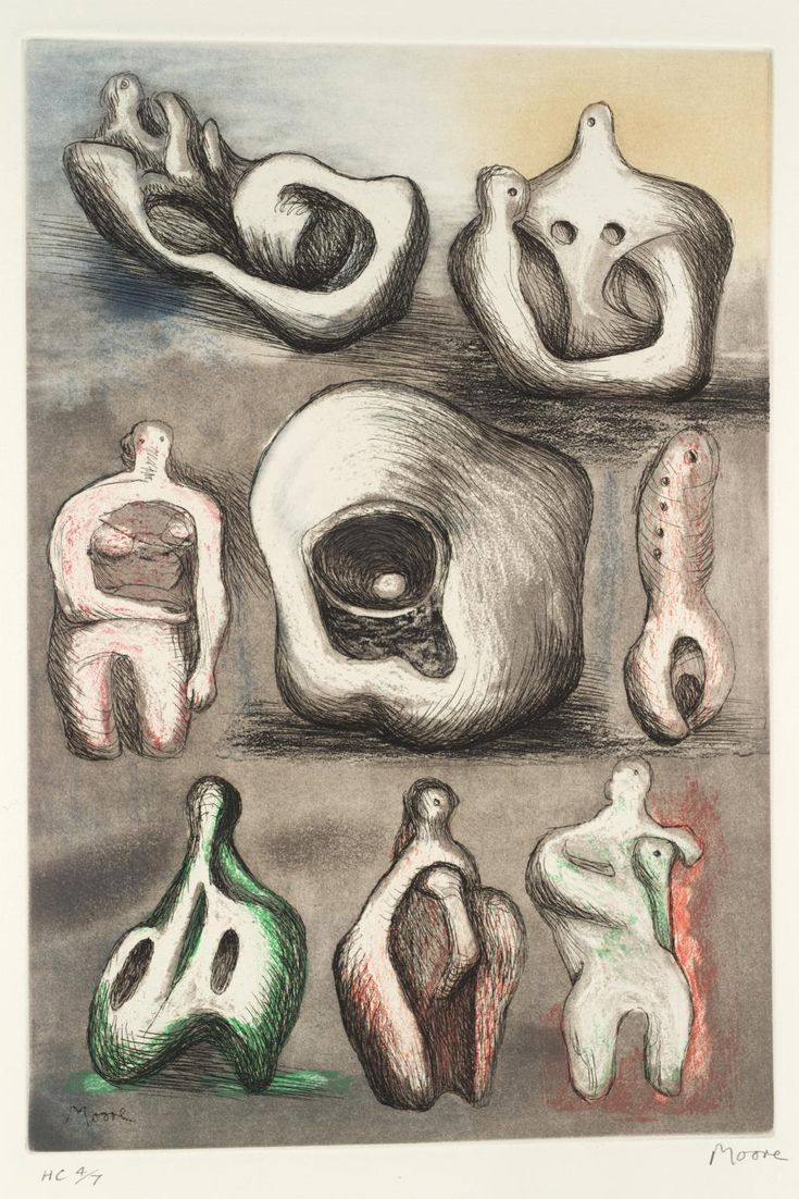 henry moore art | Henry Moore OM, CH 'Eight Sculpture Ideas', 1980–1© The Henry ...