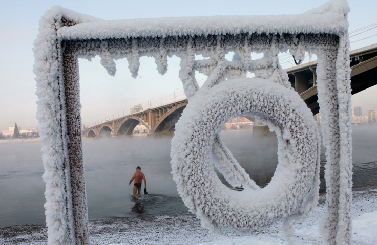 Krasnoyarsk    A walrus (  person trained  for cold weather swimming )