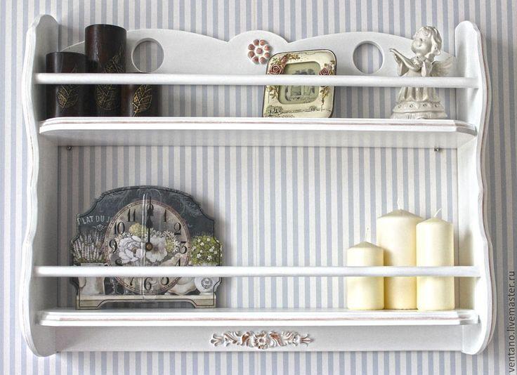 Купить или заказать Прованс в интернет-магазине на Ярмарке Мастеров. *В зависимости от размеров изделия нанесение патины + 2000 руб. Открытая навесная полка для посуды, цветов, предметов декора и т.д. Эта вещичка станет функциональным украшением вашей гостиной или кухни. Интерьерная полка может быть …