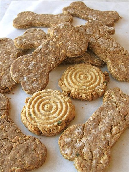 Dog biscuit recipe from King Arthur Flour. No need to do fancy shapes, just flatten it and cut up into whatever size treats you like to give your dog.