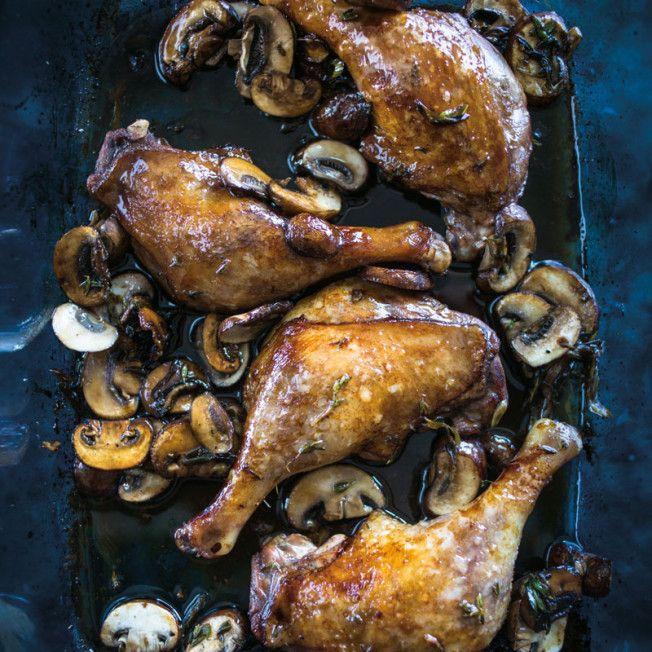 Balsamic Duck Legs with Mushrooms