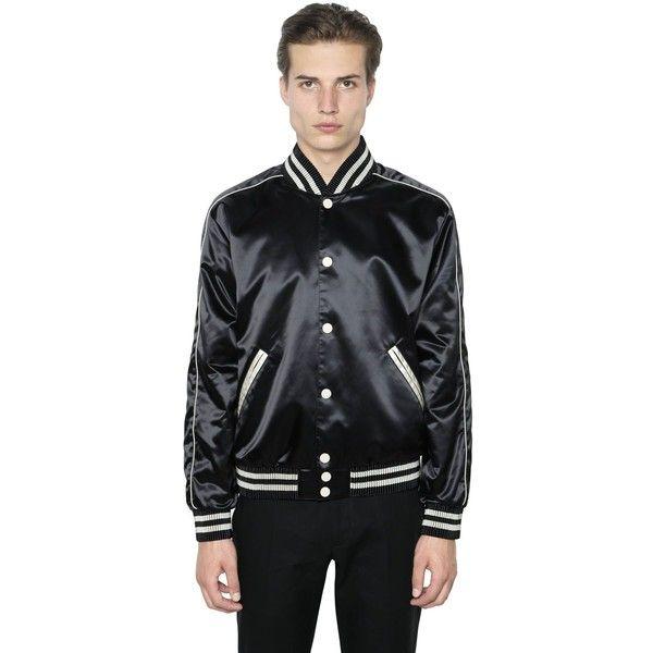 Calvin Klein Collection Men Techno Satin Bomber (5.530 BRL) ❤ liked on Polyvore featuring men's fashion, men's clothing, men's outerwear, men's coats, black, mens fur collar coat, mens coats, mens fur lined coat and mens bomber coats
