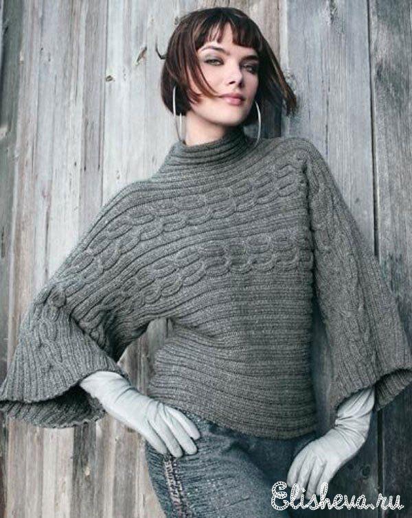 Пуловер-кимоно вязаный спицами FREE