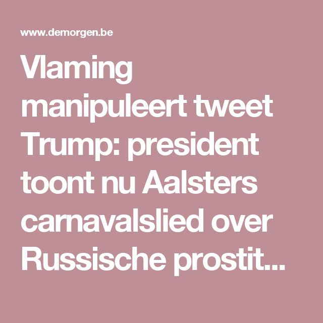 Vlaming manipuleert tweet Trump: president toont nu Aalsters carnavalslied over Russische prostituees | Trump president