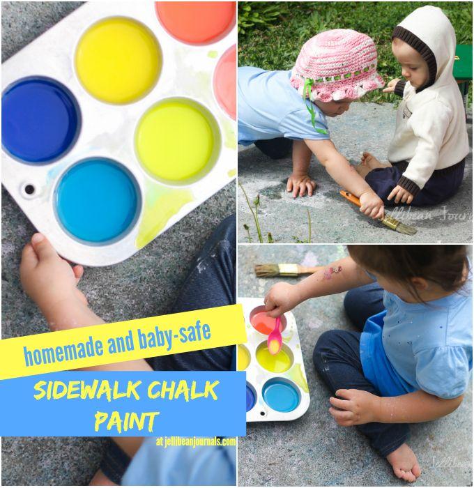 Homemade {Edible} Sidewalk Chalk Paint #sensory #diy #kids  Jellibeanjournals.com