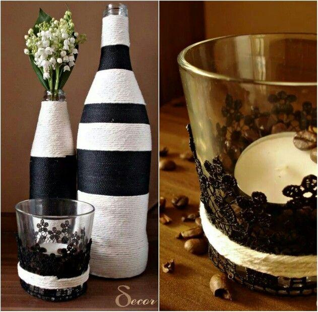 Black and white Yarn vases