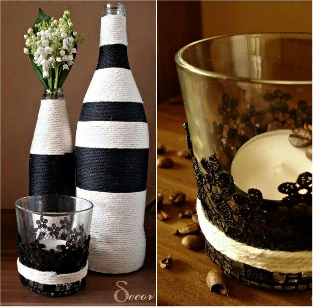 Black and white Yarn vases
