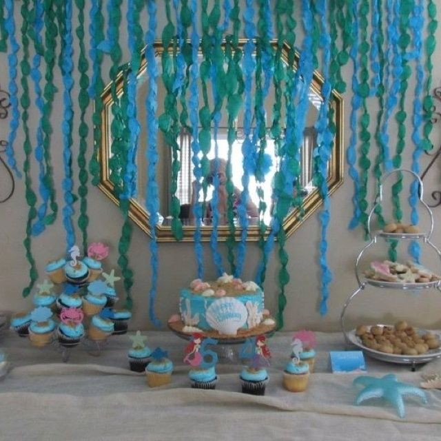 Ocean Table Decorations | My Under the sea/Mermaid cake table!! | Girls Bday Party ideas