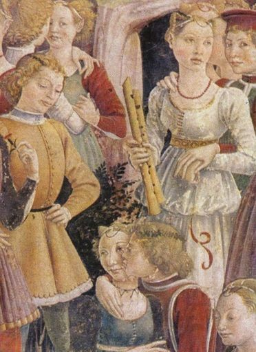 Francesco del Cossa: April 1470. (detail) While it's two recorders, it's likely they were played together.