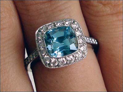 Tiffany Legacy aquamarine ring in platinum with diamonds. Something blue