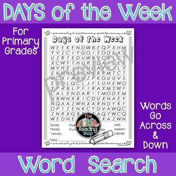 This word search has ten words related to the days of the week/calendar: Sunday, Monday, Tuesday, Wednesday, Thursday, Friday, Saturday, week, weekend, and calendar. ANSWER KEY is included.The words go across or down.  The words do NOT overlap.  The words do NOT go diagonal.