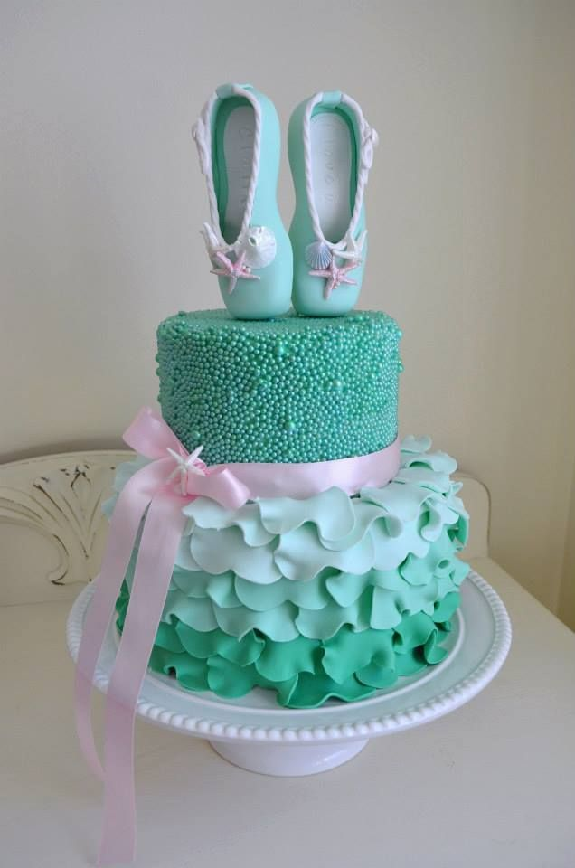 Ballet birthday cake in 'Under the Sea' aqua. With sugar pearls and petal details.