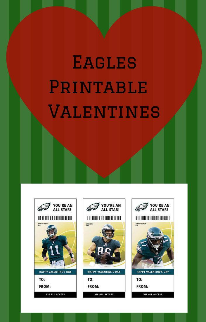 Philadelphia Eagles Football Valentine's Day Card Ticket Printable #superbowl #valentines #affiliatelink #eagles #printables